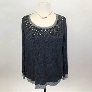 Maurices Gray knit bling tunic  3X